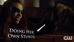 The Huntress doing stunts
