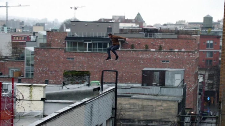 Simon does rooftop jump