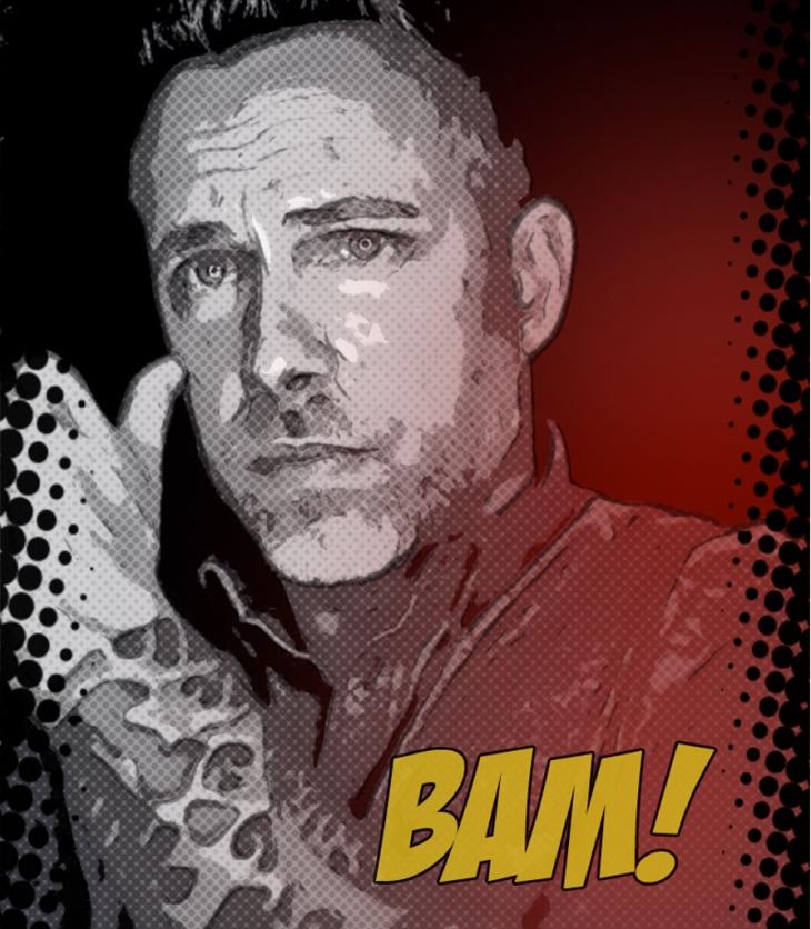 Comic style artwork of James Bamford